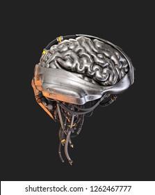 Sci-fi robotic brain organ, 3d illustration on dark background