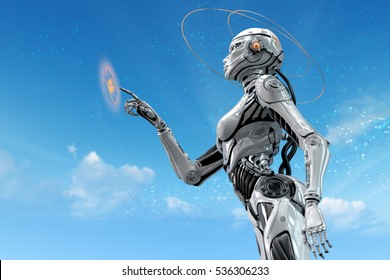 Sci-fi robotic girl. Gynoid working in futuristic environment. Female robot in virtual space