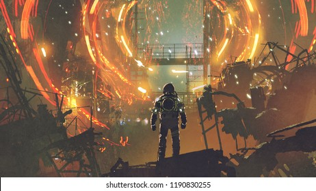 sci-fi scene of the astronaut looking at the futuristic portal, digital art style, illustration painting