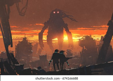 sci-fi scene of couple holding gun looking at giant robot standing in destroyed city, digital art style, illustration painting