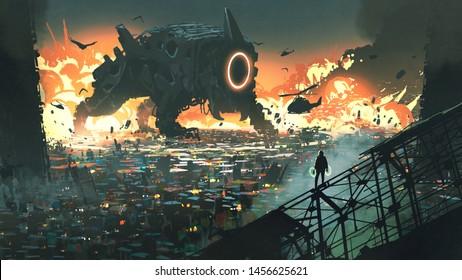 sci-fi scene of the creature machine invading city, digital art style, illustration painting