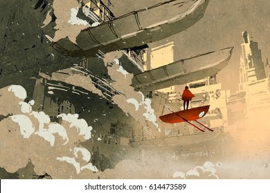 sci-fi scene of the man on the flying vehicle floating in futuristic city,illustration painting