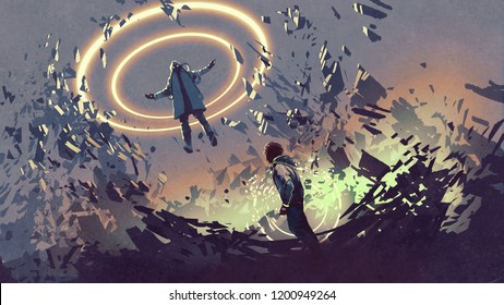 sci-fi scene showing fight of two futuristic men with magics, digital art style, illustration painting