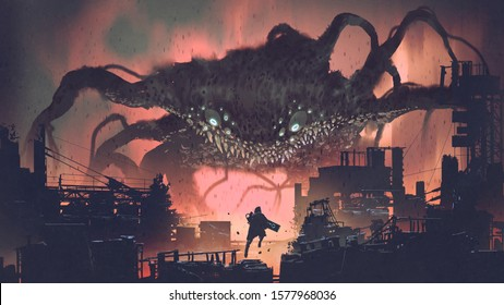 sci-fi scene showing the giant monster invading night city, digital art style, illustration painting