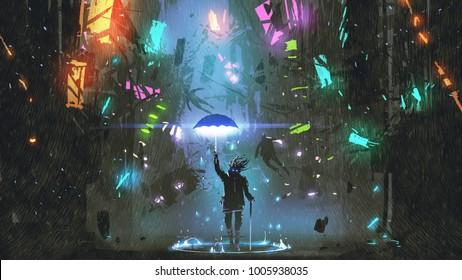 sci-fi scene showing the man holding a magic umbrella destroying futuristic city, digital art style, illustration painting