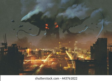 sci-fi scene,Alien monster invading night city,illustation painting