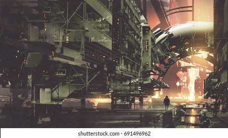 sci-fi scenery of cyberpunk city with futuristic buildings, digital art style, illustration painting