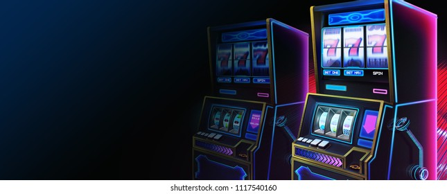 SciFi Slot Machine, Website Header, Serious Themes with Fantastic, Realistic and Futuristic Style. Video Game's Digital CG Artwork, Concept Illustration, Realistic Cartoon Style Scene Design