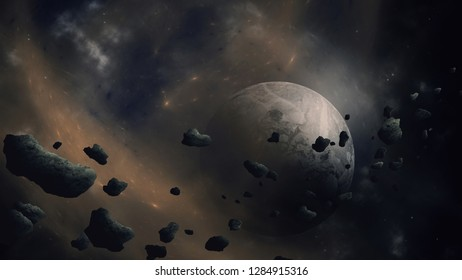 Sci-fi space background with asteroid field near planet in nebula (no NASA images used)