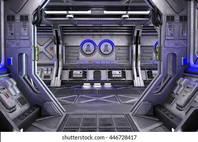 Sci-Fi space station corridor interior 3d illustration