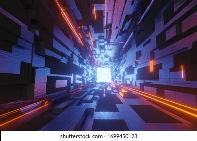 scifi tunnel 3d illustration futuristic