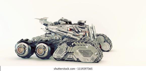 Sci-fi vehicle, 3d illustration