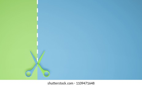 Scissors with cut lines on pastel green and blue colored background with copy space, template mockup concept idea, 3d illustration