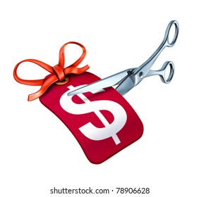 Scissors cutting a price tag with a dollar symbol representing a sale  with a bargain reduction in cost.