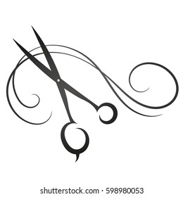 Scissors and hair sign for beauty silhouette