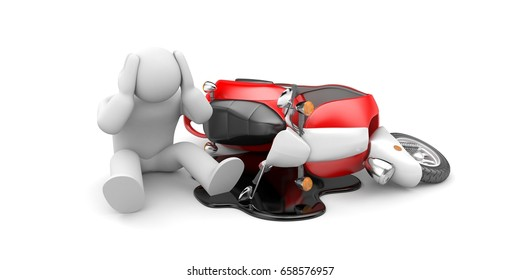 Scooter accident - man sitting down with headaches. 3d illustration