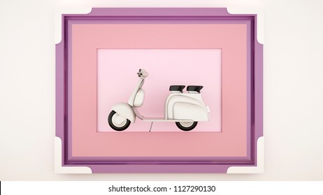 Scooter in a pink violet frame - Artwork for kid - Cute decoration scooter in frame for artwork design - Autumn artwork - 3D Rendering
