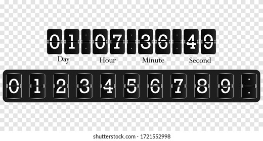 Scoreboard for account billing. Countdown numbers flip counter  isolated set. Retro watch, flipchart or mechanical numbers from 0 to 9
