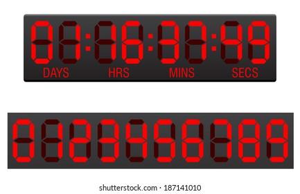 scoreboard digital countdown timer illustration isolated on white background