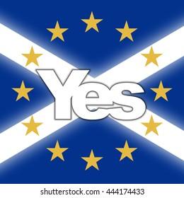Scotland in EU, Indyref2, ScotRef - Scottish and European Union Flag with Yes Vote