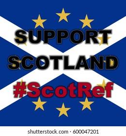 Scotland in EU, Indyref2, ScotRef - Scottish and European Union Flag. Support Scotland