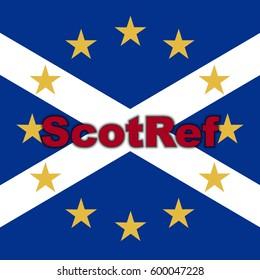 Scotland in EU, Indyref2, ScotRef - Scottish and European Union Flag (Red)