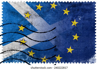 Scotland and European Union Flag - old postage stamp