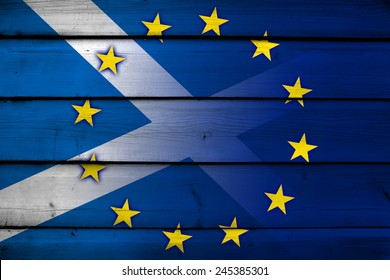 Scotland and European Union Flag on wood background