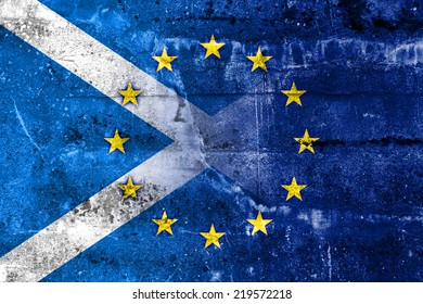 Scotland and European Union Flag painted on grunge wall