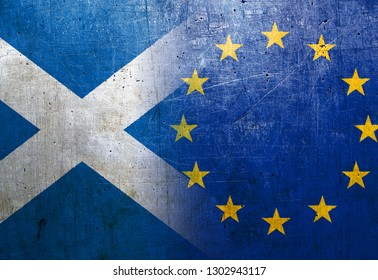 Scotland and European Union flags on the grunge metal background