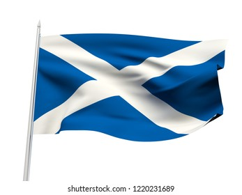 Scotland flag floating in the wind with a White sky background. 3D illustration.