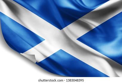 Scotland flag of silk-3D illustration