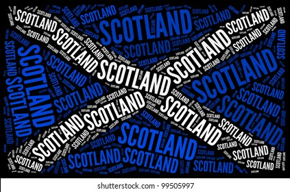 Scotland National Country Flag Symbol info-text graphics and arrangement concept on black background