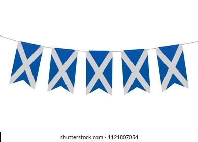 Scotland national flag festive bunting against a plain white background. 3D Rendering