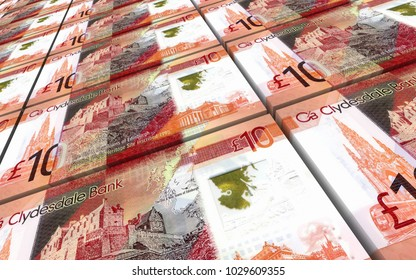 Scotland pound bills stacked background. 3D illustration.