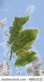 Scotland. Shaded relief map with major urban areas. Surrounding territory greyed out. Colored according to vegetation. Includes clip path for the state area.