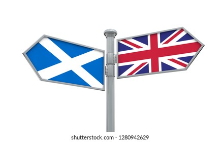 Scotland and United Kingdom guidepost. Moving in different directions. 3D Rendering