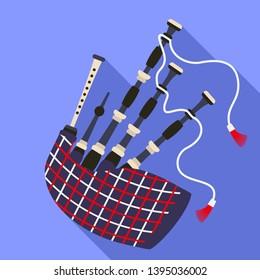 Scottish bagpipes icon. Flat illustration of scottish bagpipes icon for web design