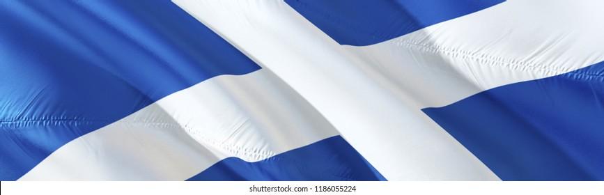 Scottish flag. 3D rendering Waving flag design. The national symbol of Scotland.  3D Waving sign design. Waving sign background wallpaper. 3D pattern background download Scottish HD wallpaper graphics