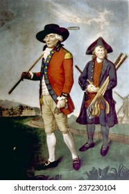 Scottish golfer and his caddy, painting by J,F, Abbott, 1790.