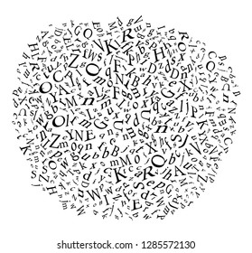 Scrambled letters Overlay Screen. A set of Alphabet . Seamless pattern with letters of the alphabet in random order on a white background. Suitable for web backgrounds, textile and artwork