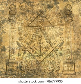 Scrapbook design background with mason religious symbols. Freemasonry and secret societies emblems, occult and spiritual mystic drawings. Tattoo design, new world order