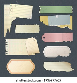 Scrapbook paper. Old scratched antique blank stickers or card for diary memos papers collection
