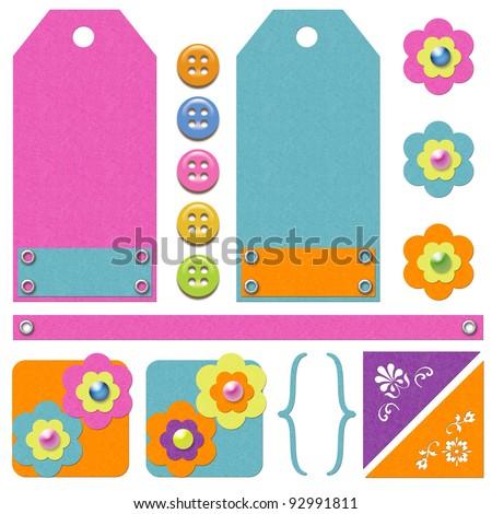 Scrapbook Tags Embellishments Stock Illustration 92991811 Shutterstock