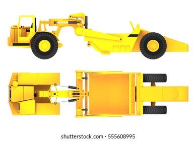 scraper machine side and top view 3d rendering