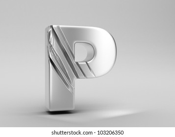 scratched glossy metal 3d letter p WITH ALPHA CHANNEL