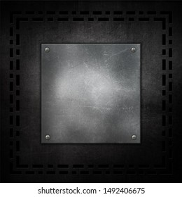 Scratched grunge metal background with metallic plate