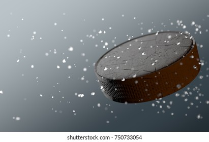 A scratched hockey puck caught in slow motion flying through the air scattering water and ice particles in its wake - 3D render