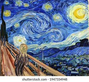 The Scream at The Starry Night. Combination of my two digital reproductions. Edvard Munch and Vincent van Gogh paintings reproduction in Low Poly style. Conceptual Polygonal Illustration.