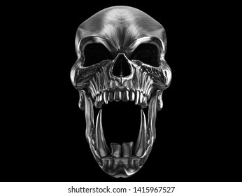 Screaming demon orc heavy metal skull with sharp teeth - front view - 3D Illustration